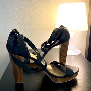 Brash Black Ankle Strap Platform Sandals Size: 11